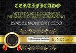 JUNIO 2017.-1ª BIENALE DE ARTE. Sala: Hotel della Rotonda Via Novara 53. Del 9 al 16 de Junio 2017. Organiza: Associació Cultural Projecte Desat ¨ART. Saronno MILAN ITALIA